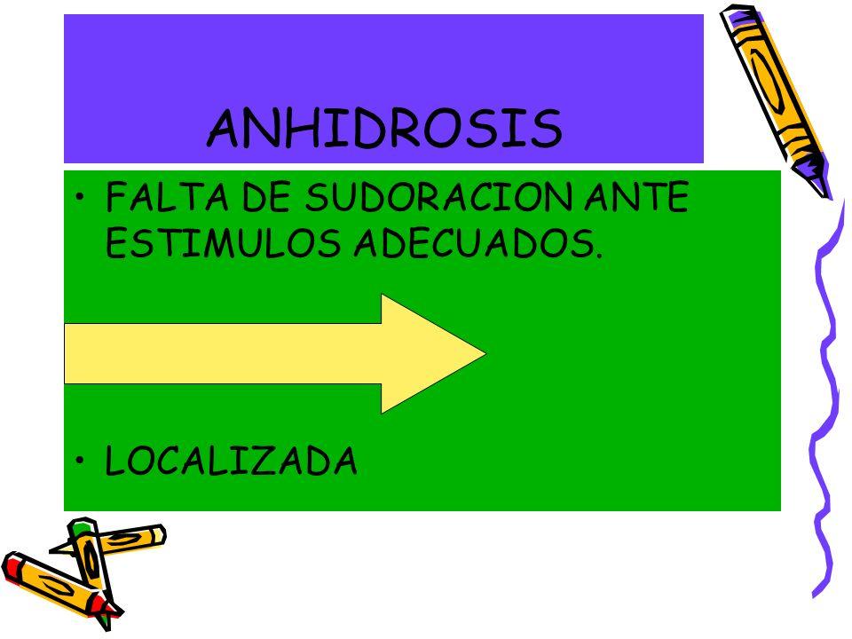 ANHIDROSIS FALTA DE SUDORACION ANTE ESTIMULOS ADECUADOS. GENERALIZADA LOCALIZADA