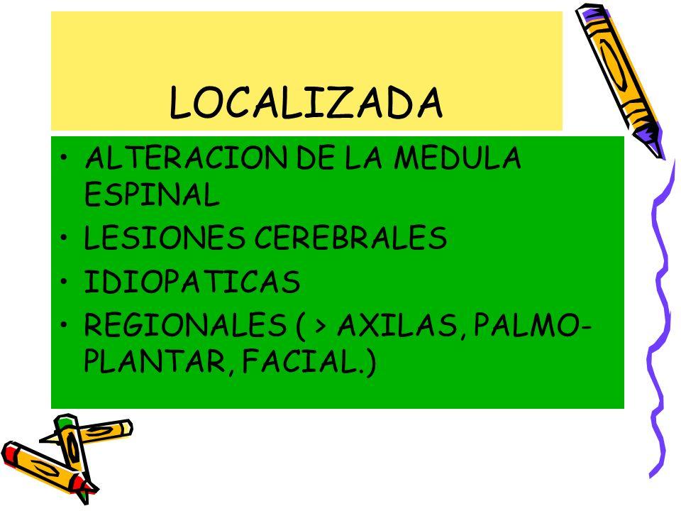 ALTERACION DE LA MEDULA ESPINAL LESIONES CEREBRALES IDIOPATICAS REGIONALES ( > AXILAS, PALMO- PLANTAR, FACIAL.)