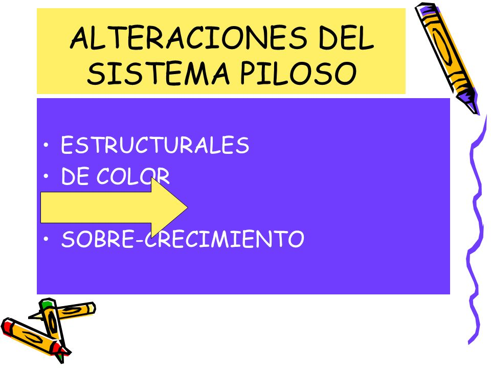 ALTERACIONES DEL SISTEMA PILOSO ESTRUCTURALES DE COLOR PERDIDA SOBRE-CRECIMIENTO