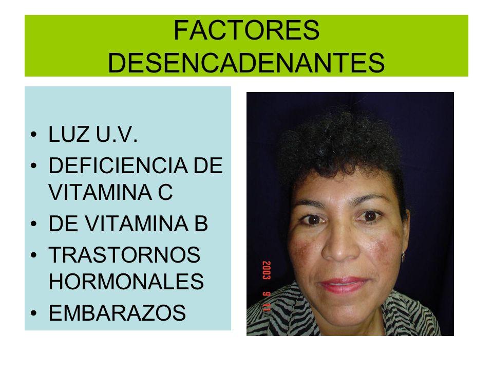 FACTORES DESENCADENANTES LUZ U.V. DEFICIENCIA DE VITAMINA C DE VITAMINA B TRASTORNOS HORMONALES EMBARAZOS
