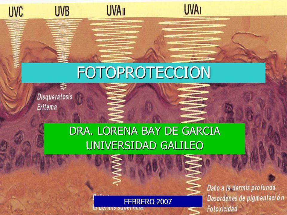 FOTOPROTECCION DRA. LORENA BAY DE GARCIA UNIVERSIDAD GALILEO FEBRERO 2007