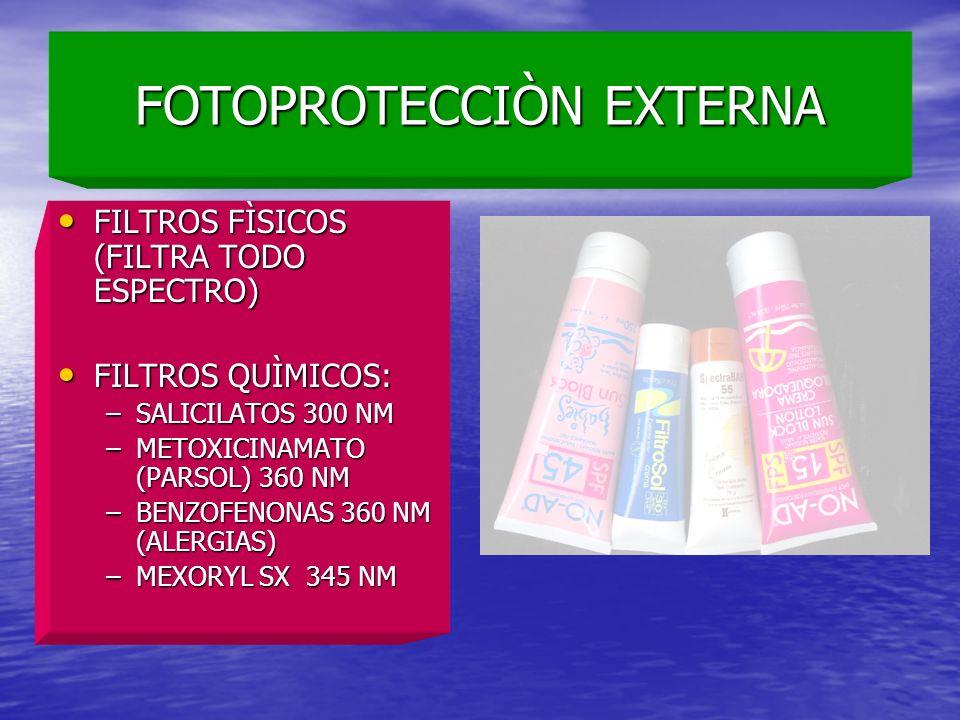 FOTOPROTECCIÒN EXTERNA FILTROS FÌSICOS (FILTRA TODO ESPECTRO) FILTROS FÌSICOS (FILTRA TODO ESPECTRO) FILTROS QUÌMICOS: FILTROS QUÌMICOS: –SALICILATOS