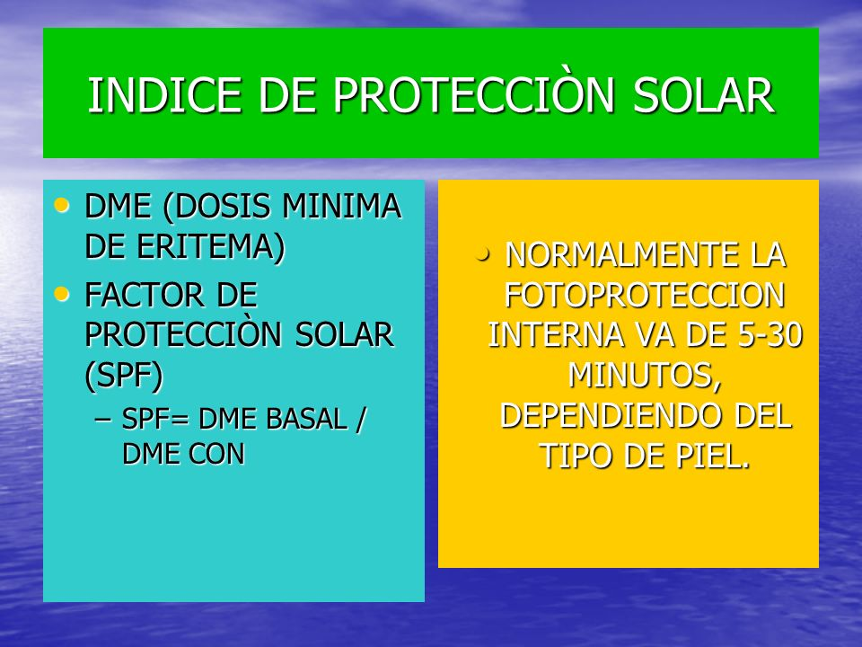 INDICE DE PROTECCIÒN SOLAR DME (DOSIS MINIMA DE ERITEMA) DME (DOSIS MINIMA DE ERITEMA) FACTOR DE PROTECCIÒN SOLAR (SPF) FACTOR DE PROTECCIÒN SOLAR (SP