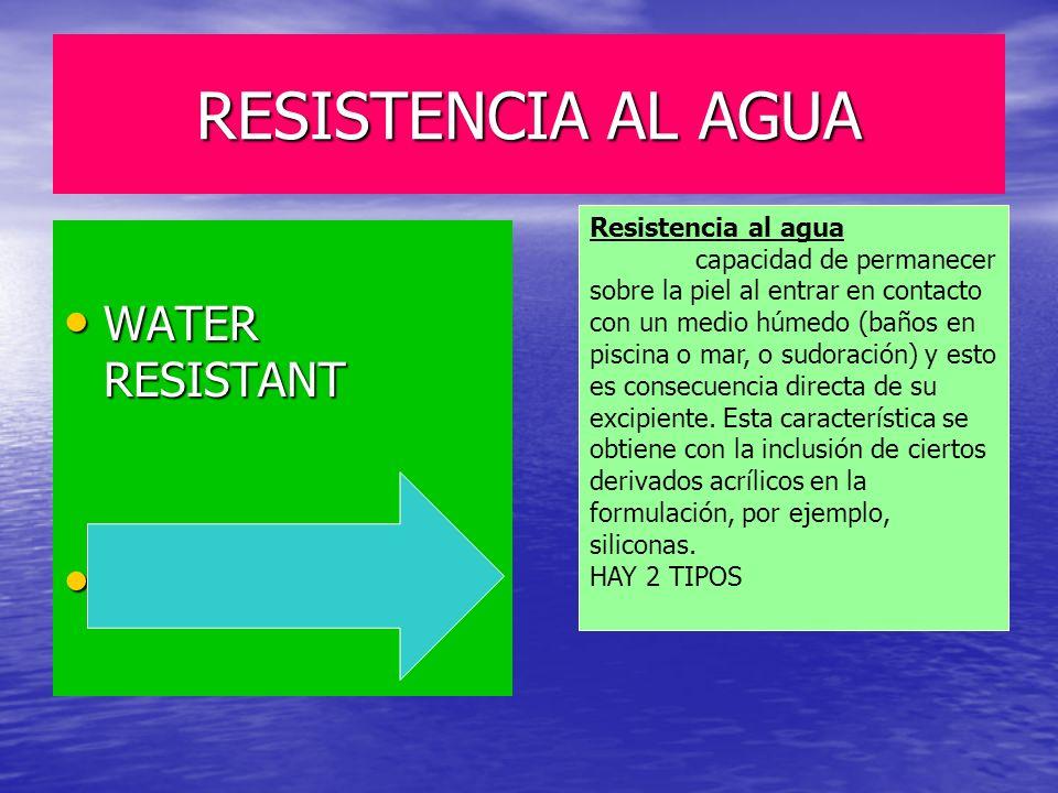 RESISTENCIA AL AGUA WATER RESISTANT WATER RESISTANT WATERPROOF WATERPROOF Resistencia al agua capacidad de permanecer sobre la piel al entrar en conta
