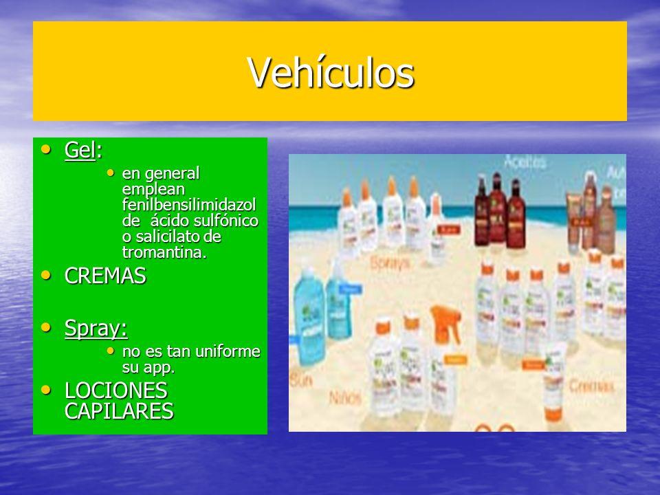 Vehículos Gel: Gel: en general emplean fenilbensilimidazol de ácido sulfónico o salicilato de tromantina. en general emplean fenilbensilimidazol de ác