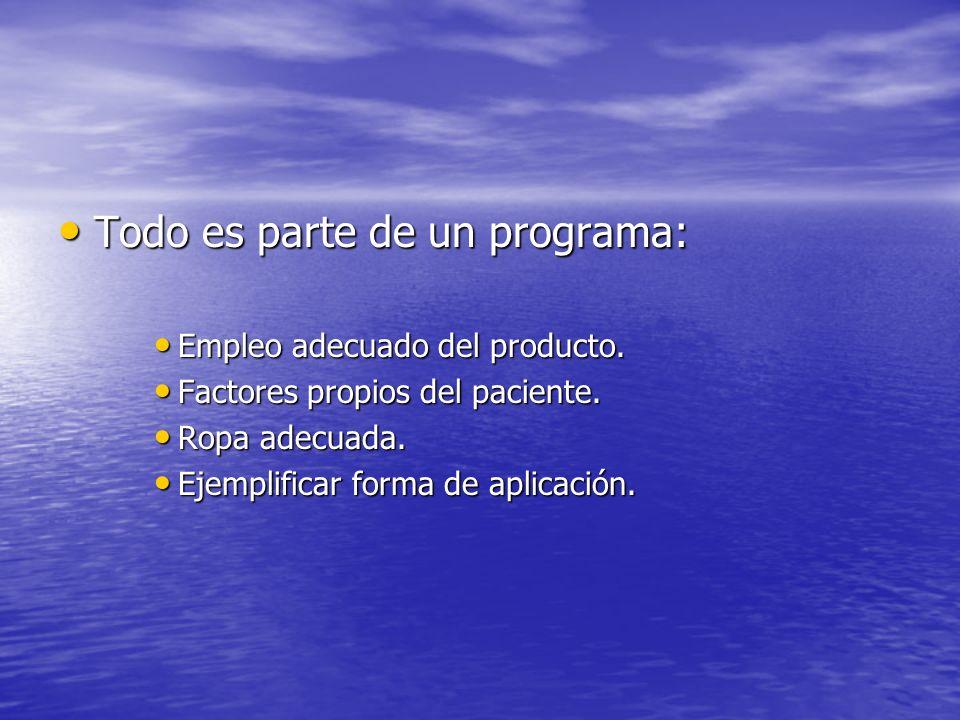 Todo es parte de un programa: Todo es parte de un programa: Empleo adecuado del producto. Empleo adecuado del producto. Factores propios del paciente.