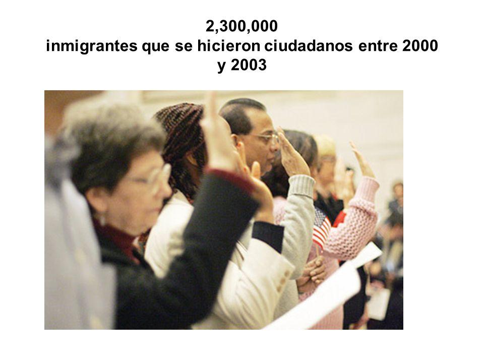 2,300,000 inmigrantes que se hicieron ciudadanos entre 2000 y 2003