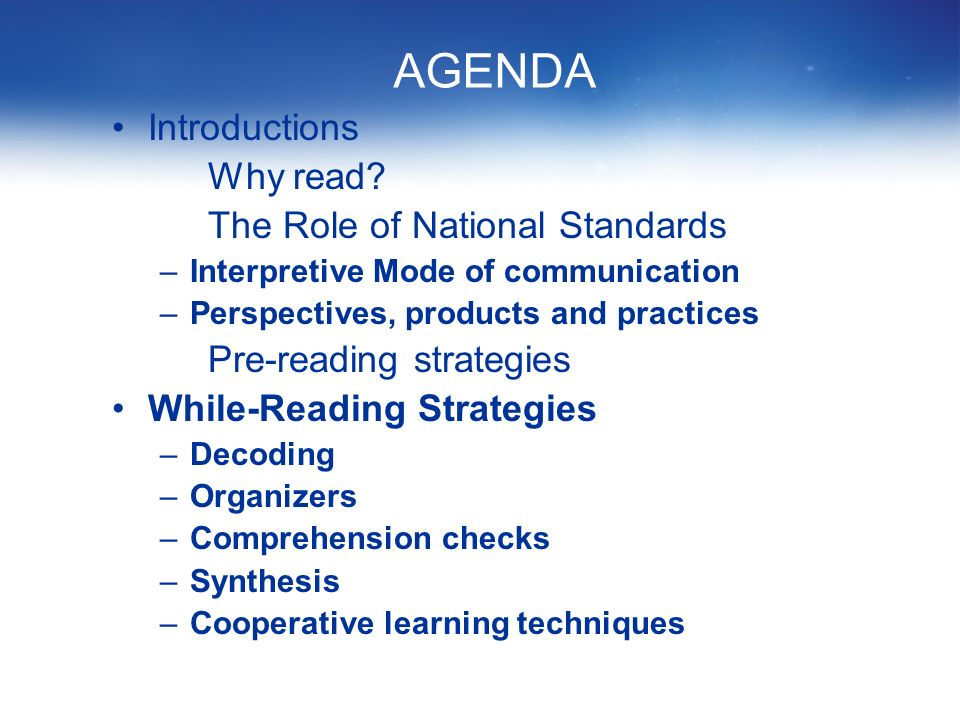 AGENDA Introductions Why read.