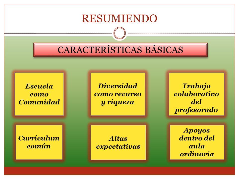 RESUMIENDO CARACTERÍSTICAS BÁSICAS Escuela como Comunidad Diversidad como recurso y riqueza Trabajo colaborativo del profesorado Apoyos dentro del aul
