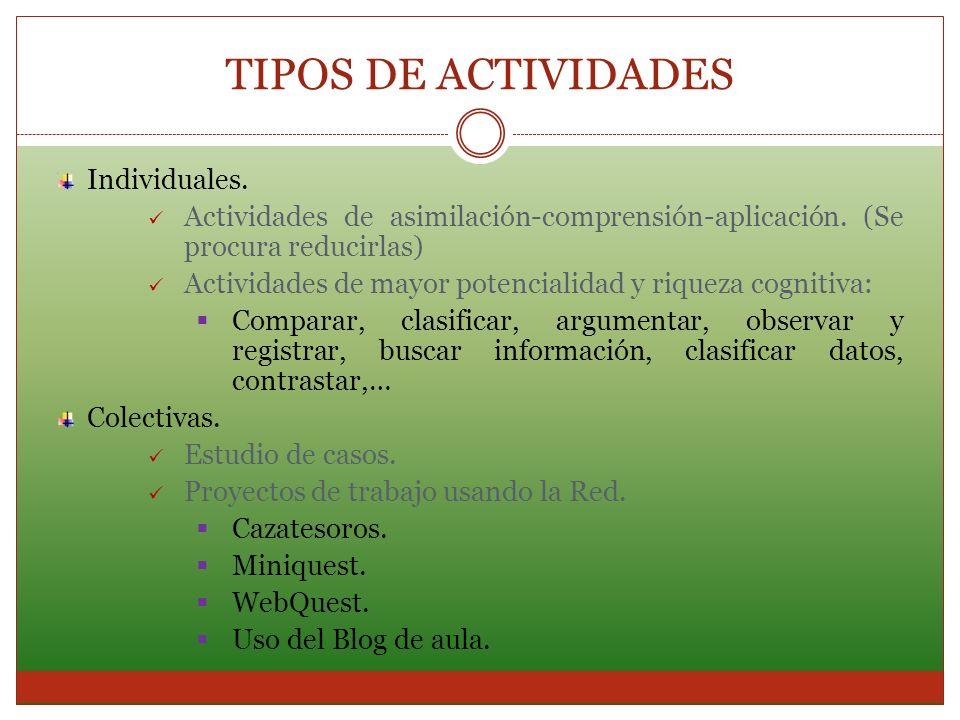 Individuales. Actividades de asimilación-comprensión-aplicación. (Se procura reducirlas) Actividades de mayor potencialidad y riqueza cognitiva: Compa