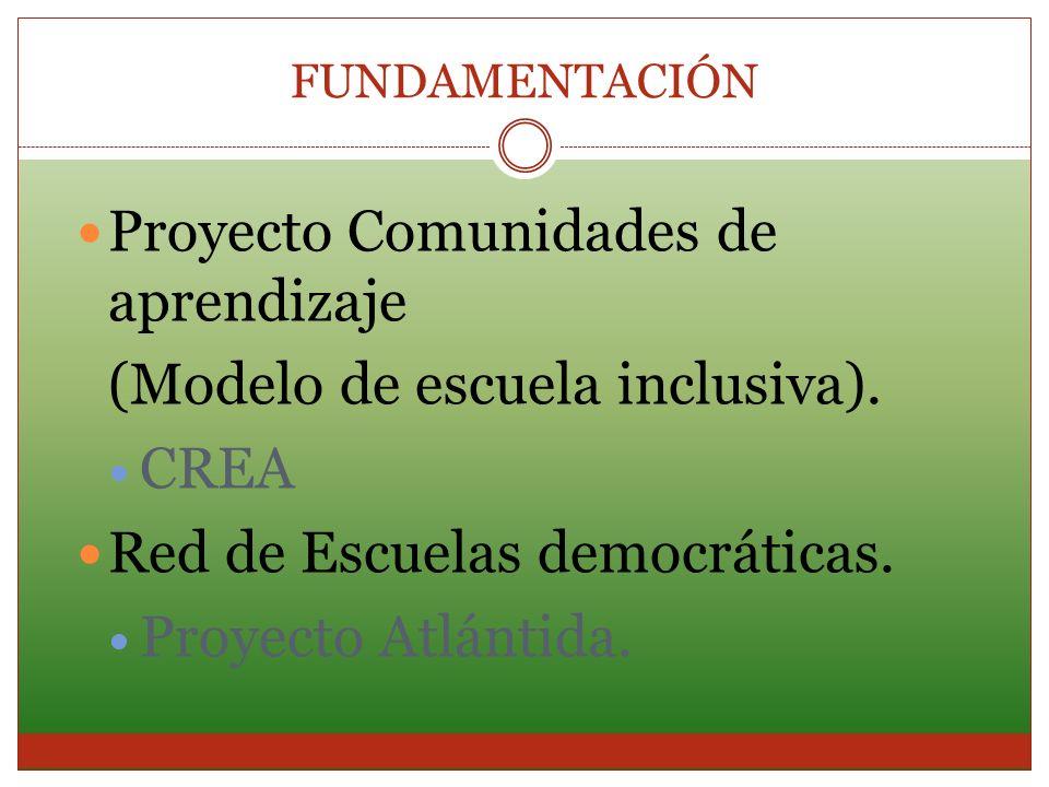 FUNDAMENTACIÓN Proyecto Comunidades de aprendizaje (Modelo de escuela inclusiva). CREA Red de Escuelas democráticas. Proyecto Atlántida.