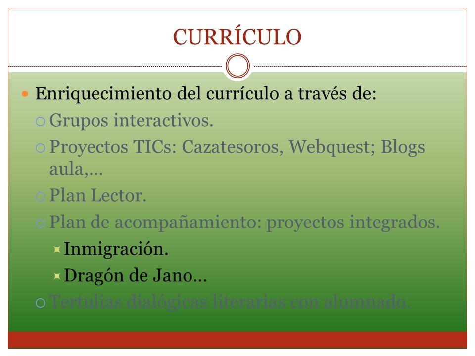 CURRÍCULO Enriquecimiento del currículo a través de: Grupos interactivos. Proyectos TICs: Cazatesoros, Webquest; Blogs aula,… Plan Lector. Plan de aco