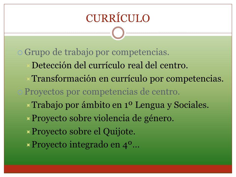 CURRÍCULO Grupo de trabajo por competencias. Detección del currículo real del centro. Transformación en currículo por competencias. Proyectos por comp