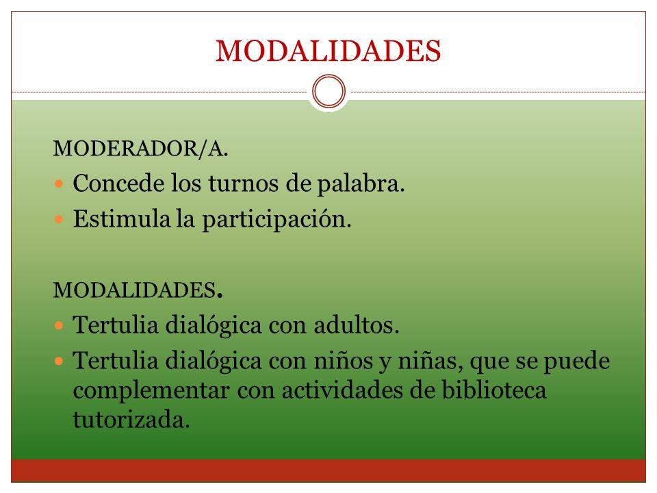MODERADOR/A. Concede los turnos de palabra. Estimula la participación. MODALIDADES. Tertulia dialógica con adultos. Tertulia dialógica con niños y niñ
