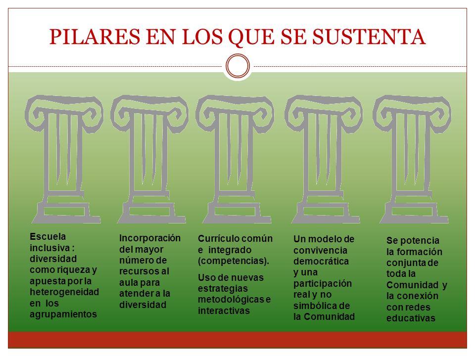 PILARES EN LOS QUE SE SUSTENTA Escuela inclusiva : diversidad como riqueza y apuesta por la heterogeneidad en los agrupamientos Incorporación del mayo