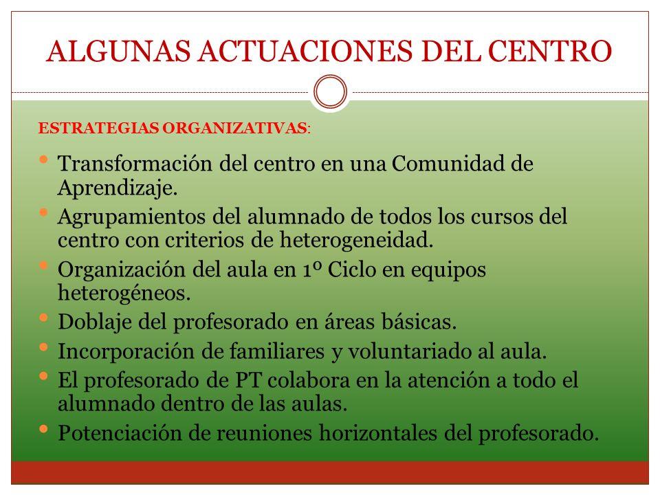 ESTRATEGIAS ORGANIZATIVAS: Transformación del centro en una Comunidad de Aprendizaje. Agrupamientos del alumnado de todos los cursos del centro con cr