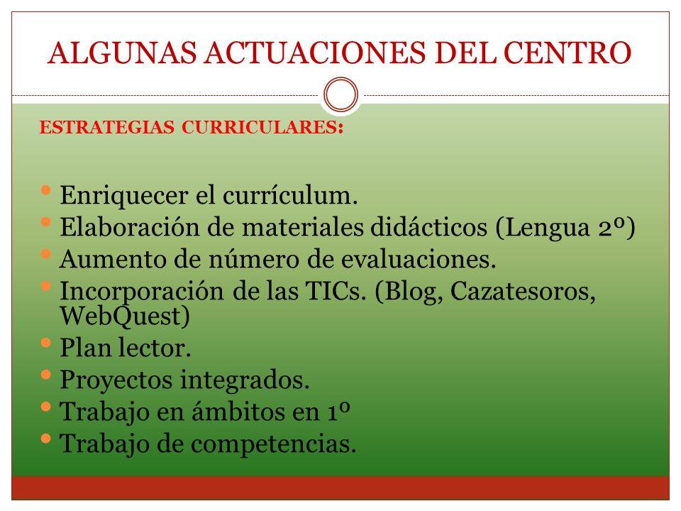 ESTRATEGIAS CURRICULARES : Enriquecer el currículum. Elaboración de materiales didácticos (Lengua 2º) Aumento de número de evaluaciones. Incorporación