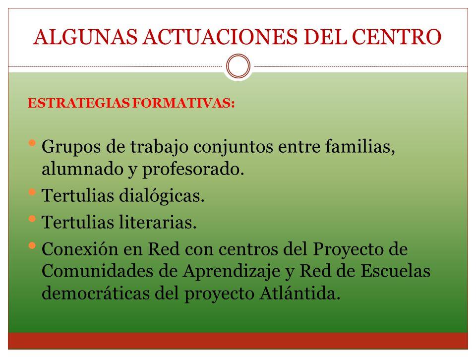 ESTRATEGIAS FORMATIVAS: Grupos de trabajo conjuntos entre familias, alumnado y profesorado. Tertulias dialógicas. Tertulias literarias. Conexión en Re