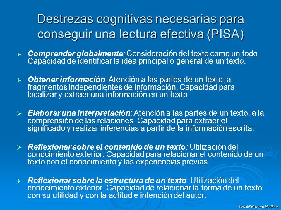 Destrezas cognitivas necesarias para conseguir una lectura efectiva (PISA) Comprender globalmente: Consideración del texto como un todo. Capacidad de