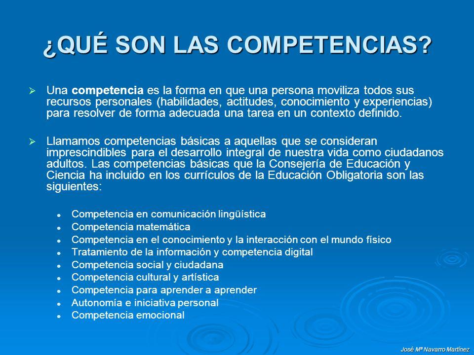 José Mª Navarro Martínez Las competencias contribuyen : Adaptar el proceso de enseñanza-aprendizaje a la sociedad actual, en continuo cambio.
