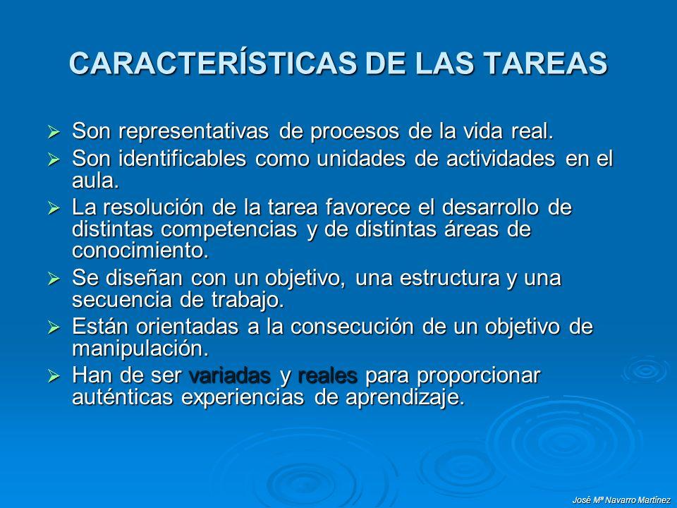 José Mª Navarro Martínez CARACTERÍSTICAS DE LAS TAREAS Son representativas de procesos de la vida real. Son representativas de procesos de la vida rea