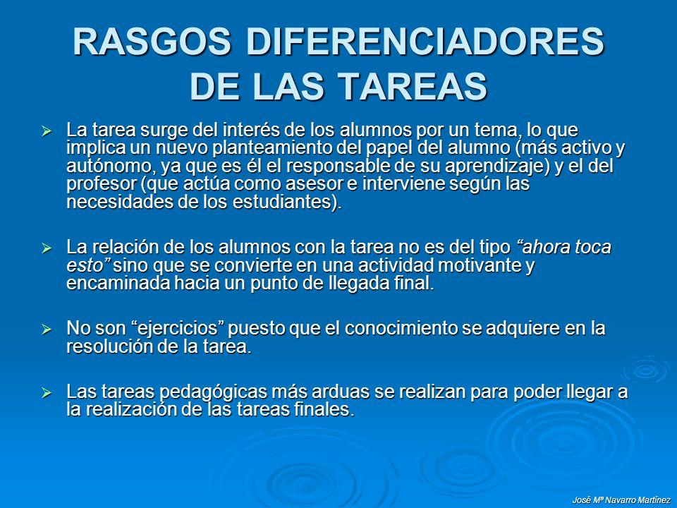 José Mª Navarro Martínez RASGOS DIFERENCIADORES DE LAS TAREAS La tarea surge del interés de los alumnos por un tema, lo que implica un nuevo planteami