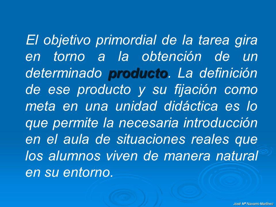 José Mª Navarro Martínez El objetivo primordial de la tarea gira en torno a la obtención de un determinado producto producto. La definición de ese pro