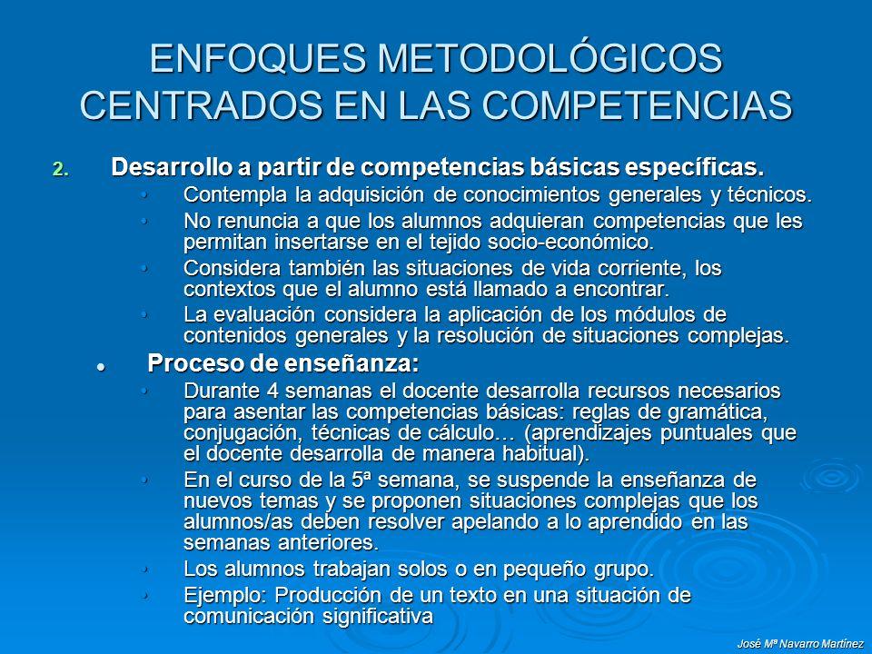 José Mª Navarro Martínez ENFOQUES METODOLÓGICOS CENTRADOS EN LAS COMPETENCIAS 2. Desarrollo a partir de competencias básicas específicas. Contempla la