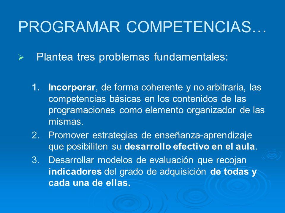 PROGRAMAR COMPETENCIAS… Plantea tres problemas fundamentales: 1. 1.Incorporar, de forma coherente y no arbitraria, las competencias básicas en los con