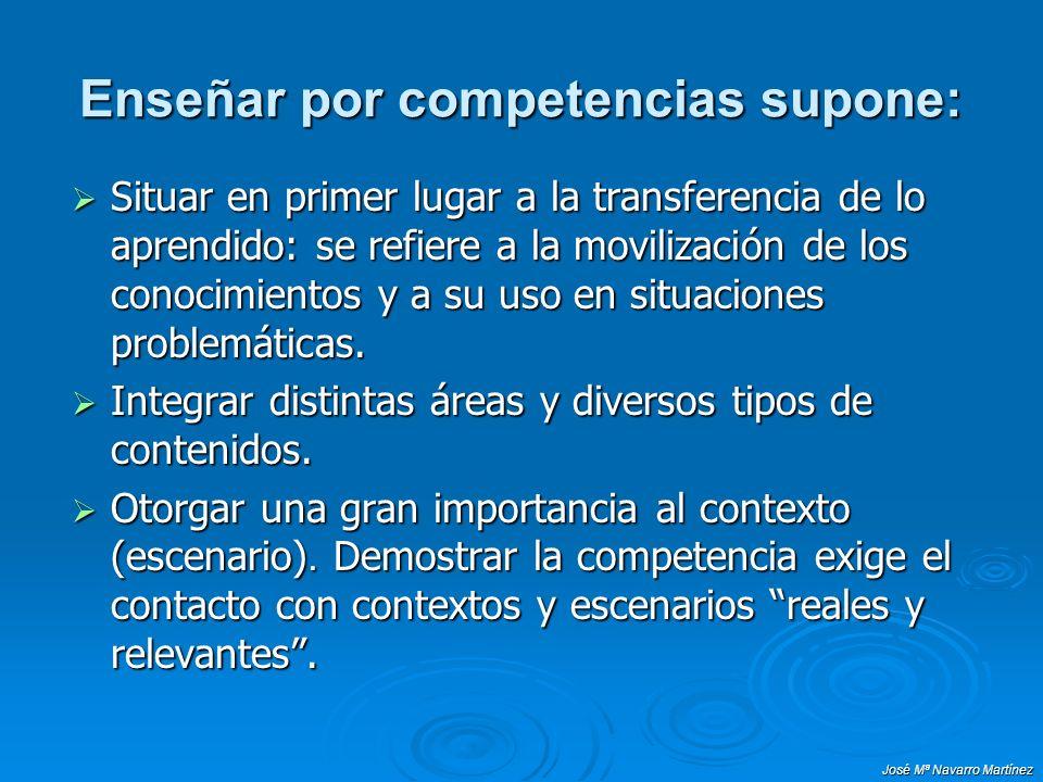 José Mª Navarro Martínez Enseñar por competencias supone: Situar en primer lugar a la transferencia de lo aprendido: se refiere a la movilización de l