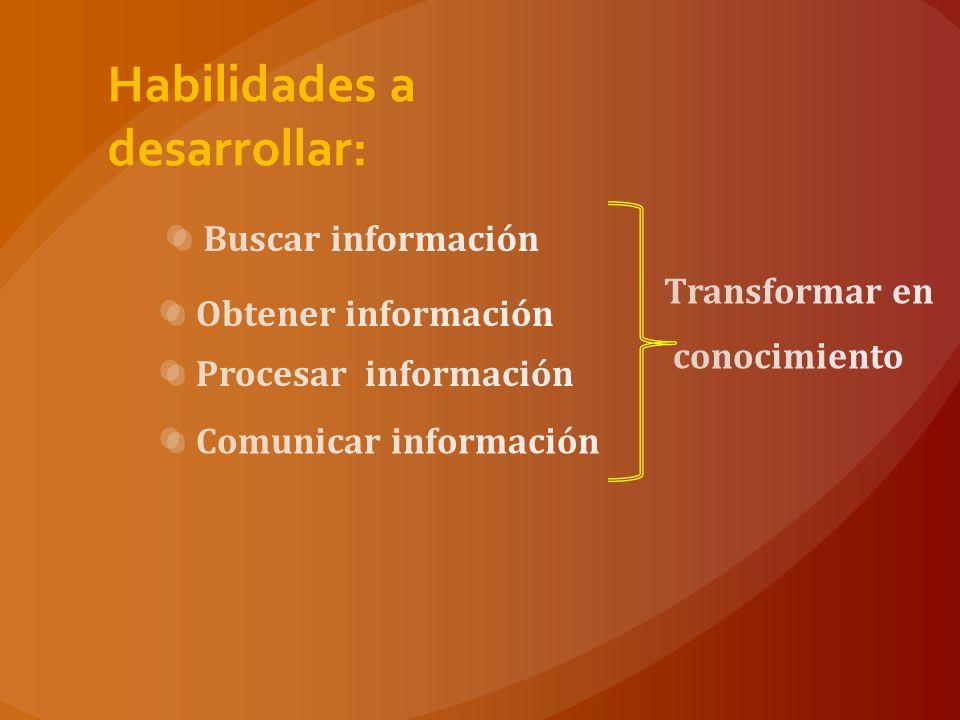 Habilidades a desarrollar: