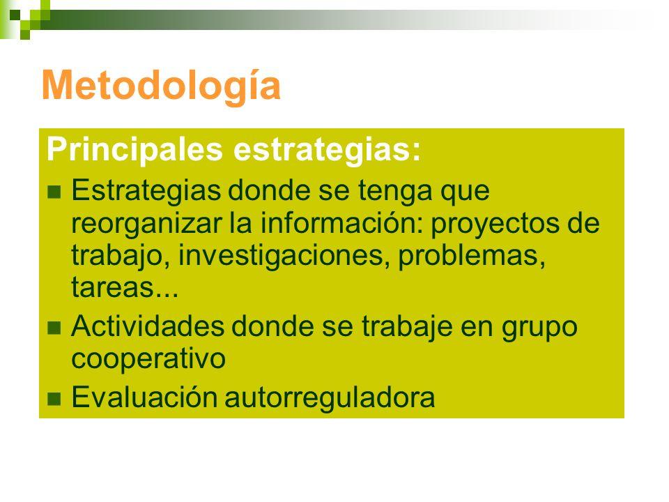 Metodología Principales estrategias: Estrategias donde se tenga que reorganizar la información: proyectos de trabajo, investigaciones, problemas, tare