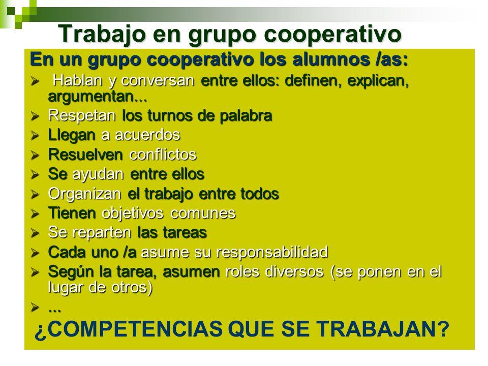 Trabajo en grupo cooperativo En un grupo cooperativo los alumnos /as: Hablan y conversan entre ellos: definen, explican, argumentan... Hablan y conver