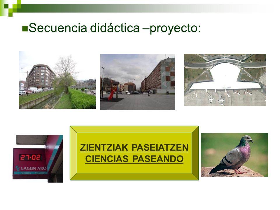ZIENTZIAK PASEIATZEN CIENCIAS PASEANDO Secuencia didáctica –proyecto: