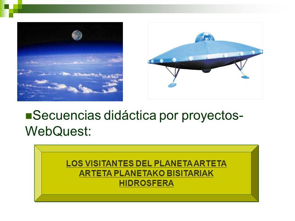 LOS VISITANTES DEL PLANETA ARTETA ARTETA PLANETAKO BISITARIAK HIDROSFERA Secuencias didáctica por proyectos- WebQuest: