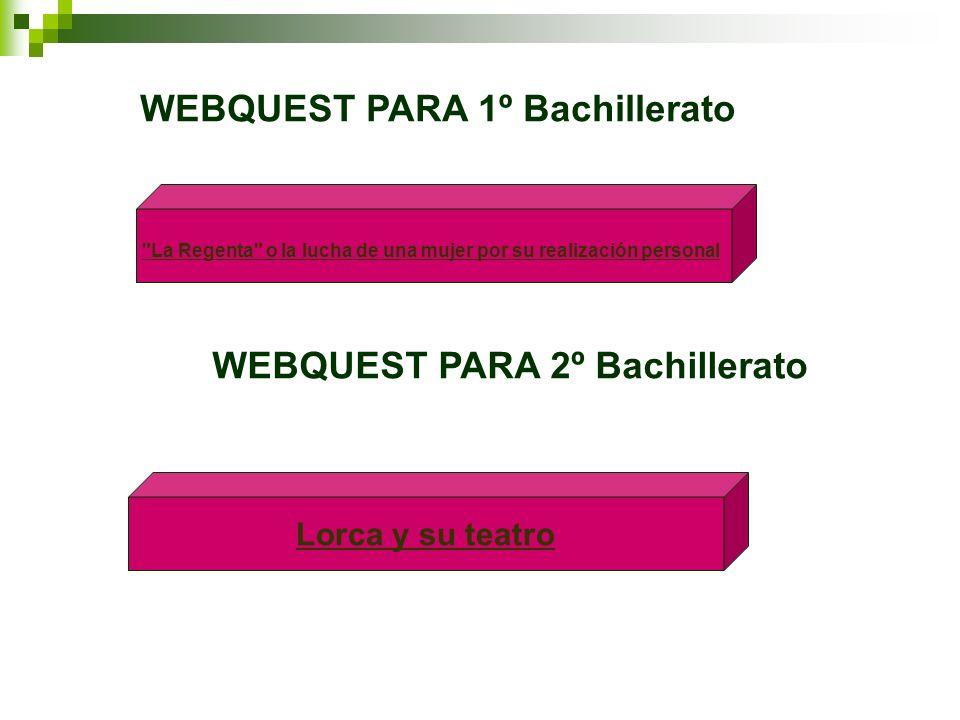 WEBQUEST PARA 1º Bachillerato WEBQUEST PARA 2º Bachillerato Lorca y su teatro