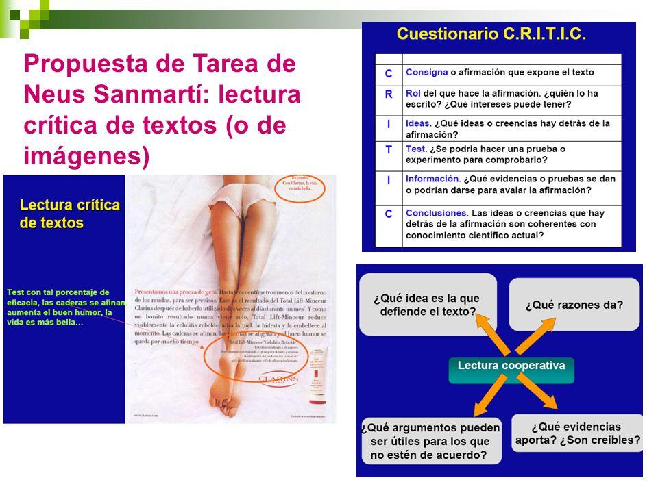 Propuesta de Tarea de Neus Sanmartí: lectura crítica de textos (o de imágenes)