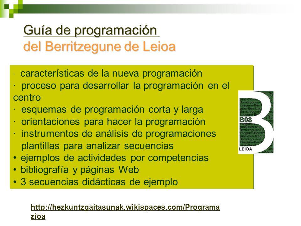 Guía de programación Guía de programación del Berritzegune de Leioa · características de la nueva programación · proceso para desarrollar la programac