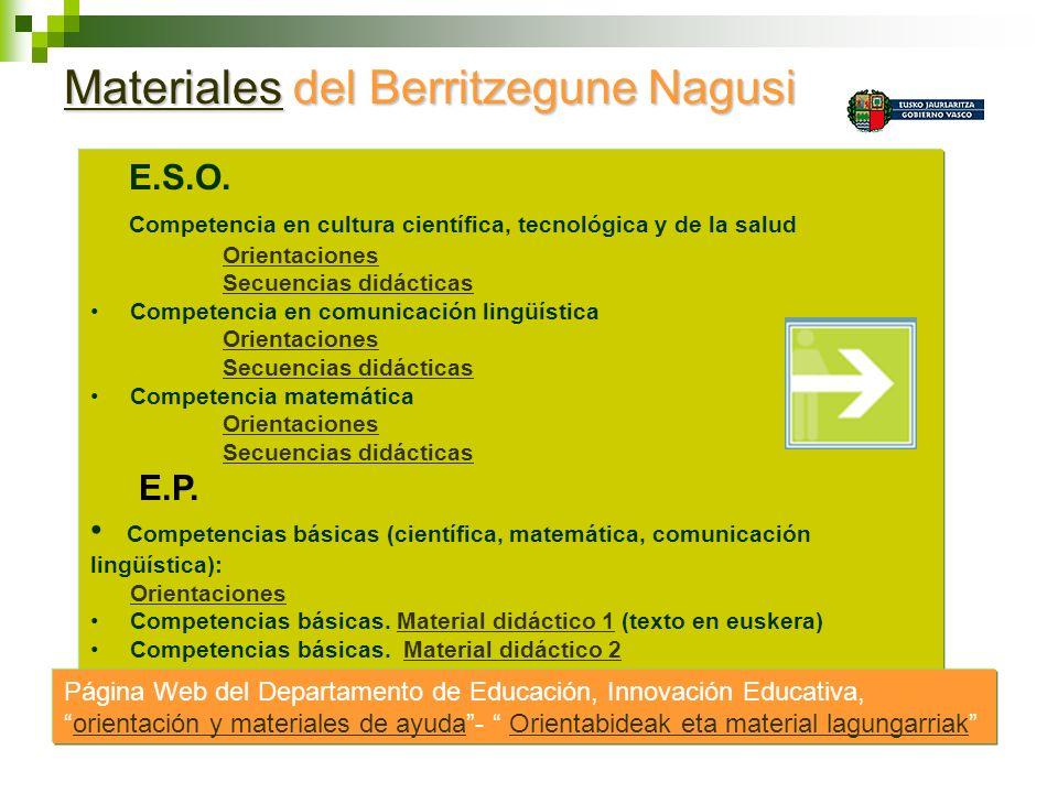 MaterialesMateriales del Berritzegune Nagusi Materiales E.S.O. Competencia en cultura científica, tecnológica y de la salud Orientaciones Secuencias d