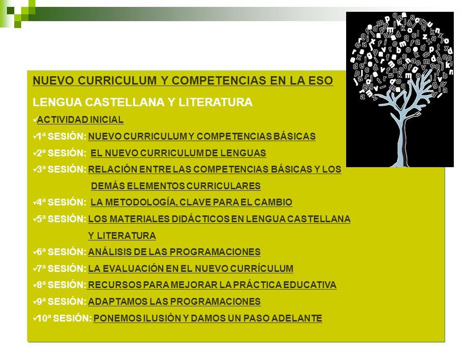 NUEVO CURRICULUM Y COMPETENCIAS EN LA ESO LENGUA CASTELLANA Y LITERATURA ACTIVIDAD INICIAL 1ª SESIÓN: NUEVO CURRICULUM Y COMPETENCIAS BÁSICASNUEVO CUR