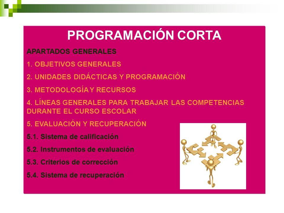 PROGRAMACIÓN CORTA APARTADOS GENERALES 1. OBJETIVOS GENERALES 2. UNIDADES DIDÁCTICAS Y PROGRAMACIÓN 3. METODOLOGÍA Y RECURSOS 4. LÍNEAS GENERALES PARA