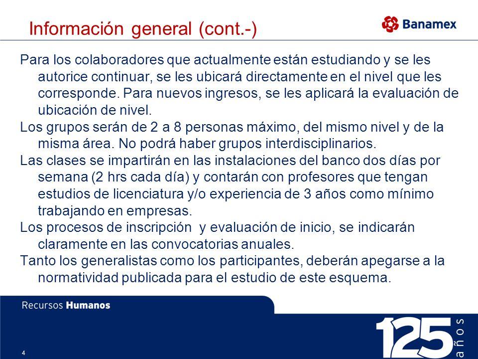4 Información general (cont.-) Para los colaboradores que actualmente están estudiando y se les autorice continuar, se les ubicará directamente en el nivel que les corresponde.