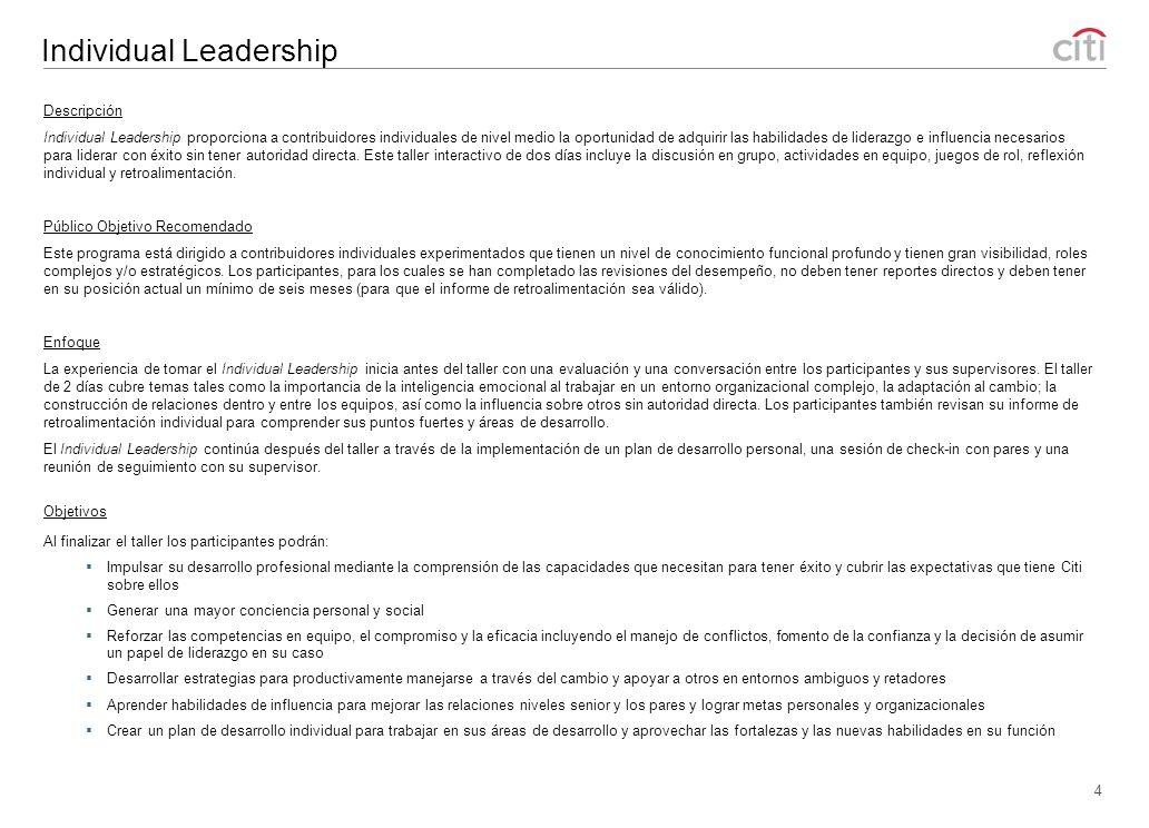 Managing at Citi (MC) 5 Descripción Managing at Citi se centra en las habilidades fundamentales necesarias para convertirse en un nuevo gerente eficaz.