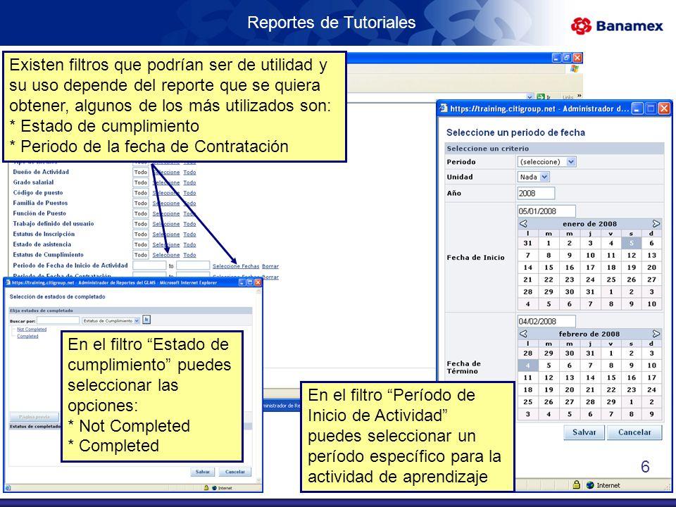 Reportes de Tutoriales Activa la casilla de Incluye parámetros para que se muestren los filtros utilizados en el reporte 22.