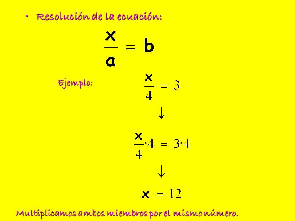 Resolución de la ecuación:Resolución de la ecuación: Ejemplo: Multiplicamos ambos miembros por el mismo número.