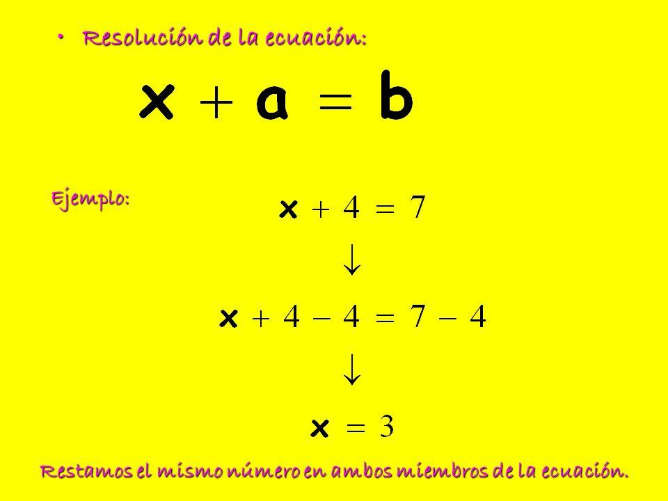 Resolución de la ecuación:Resolución de la ecuación: Ejemplo: Restamos el mismo número en ambos miembros de la ecuación.