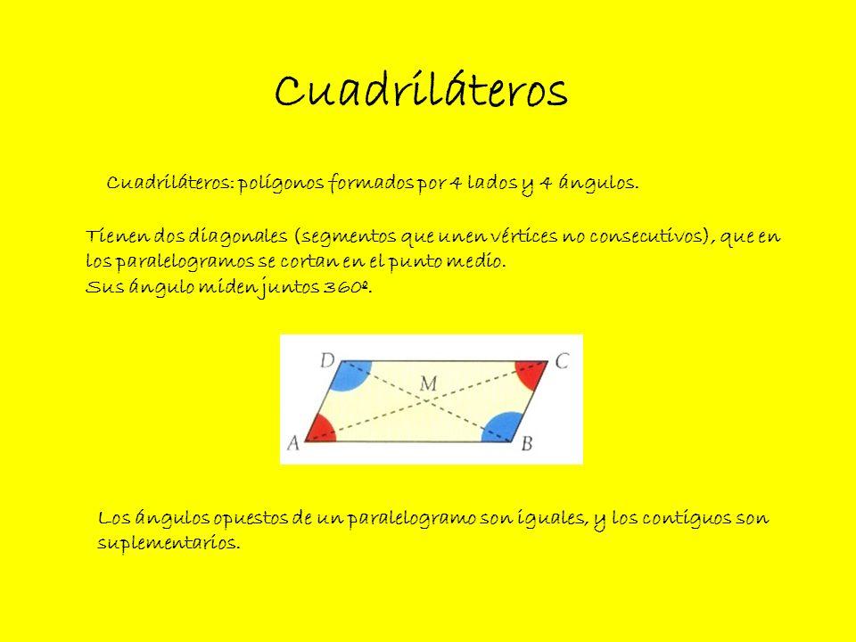 Clases de cuadriláteros Paralelogramos Trapecios Trapezoides (tienen los ángulos opuestos iguales y los contiguos suplementarios).