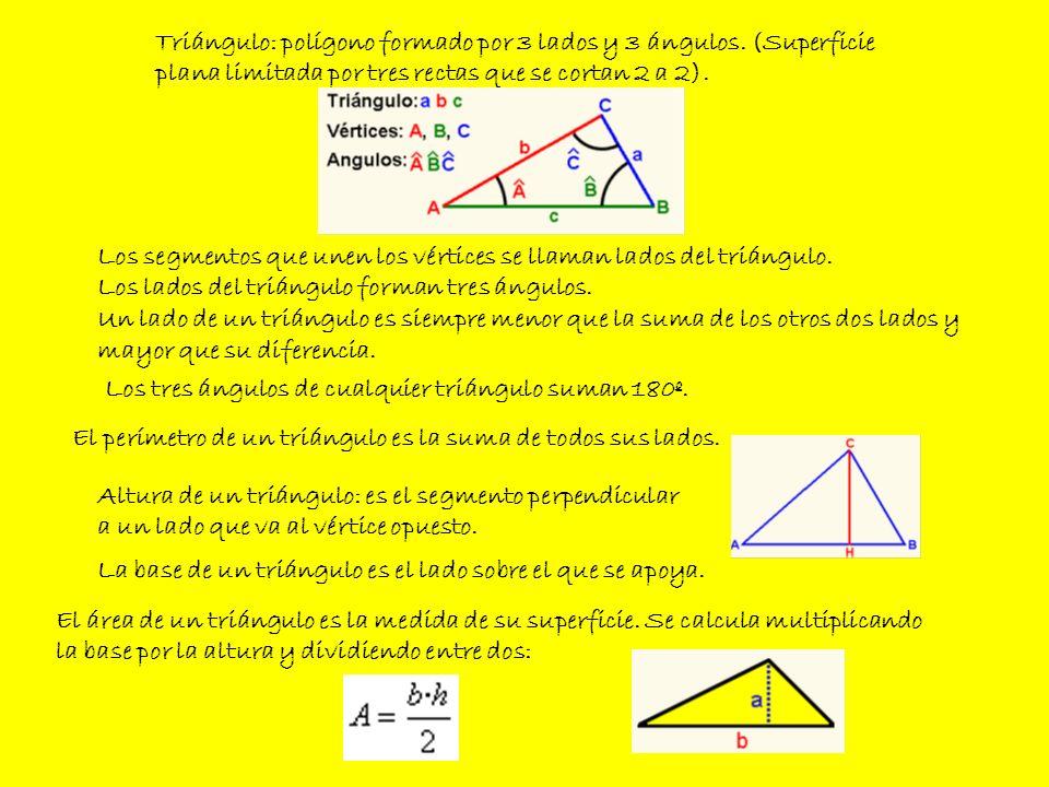 Triángulo: polígono formado por 3 lados y 3 ángulos. (Superficie plana limitada por tres rectas que se cortan 2 a 2). Altura de un triángulo: es el se