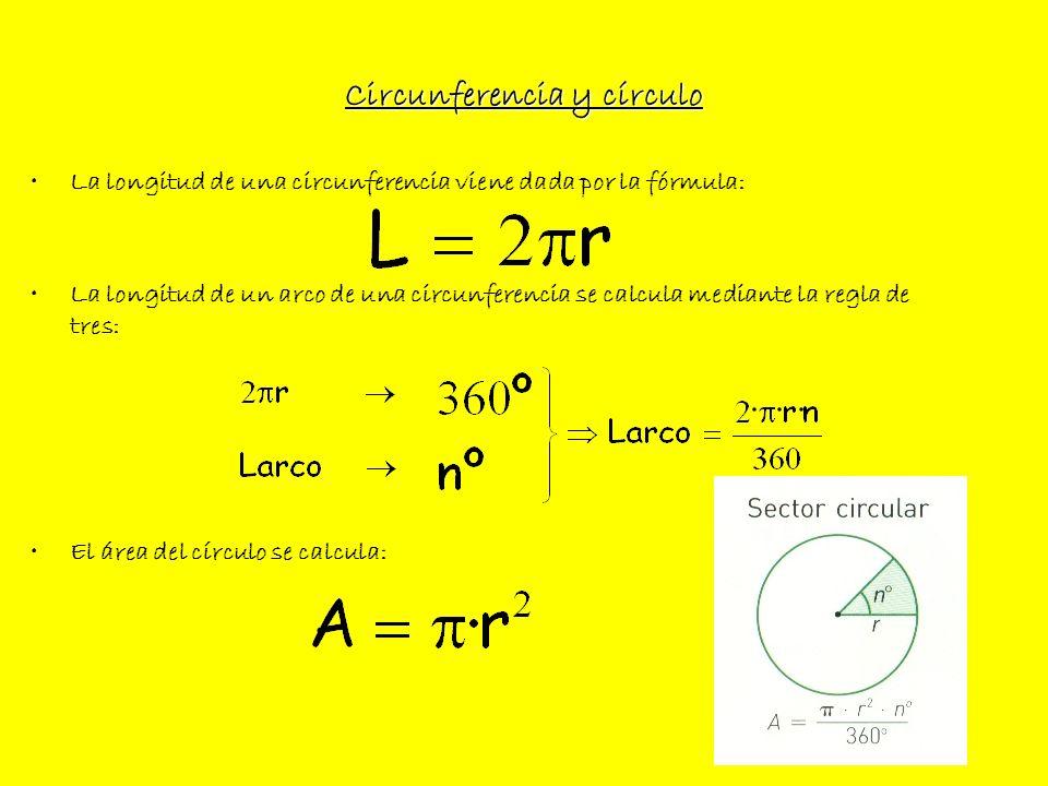 Circunferencia y círculo La longitud de una circunferencia viene dada por la fórmula: La longitud de un arco de una circunferencia se calcula mediante