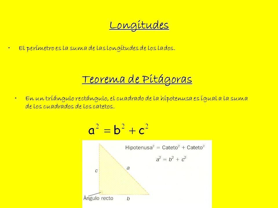 Longitudes El perímetro es la suma de las longitudes de los lados. Teorema de Pitágoras En un triángulo rectángulo, el cuadrado de la hipotenusa es ig